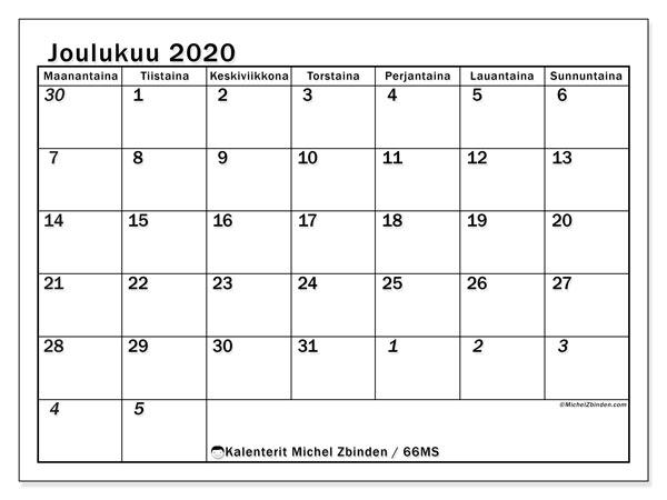 Kalenteri joulukuu 2020, 66MS. Ilmainen tulostettava planner.