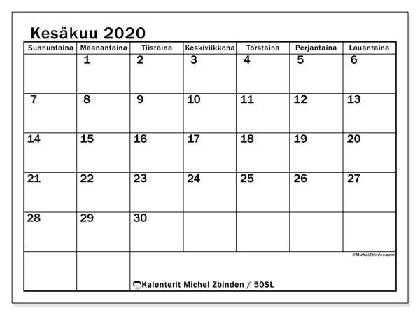Kalenteri kesäkuu 2020, 50SL. Ilmainen tulostettava kalenteri.