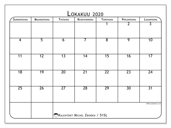 Kalenteri lokakuu 2020, 51SL. Ilmainen tulostettava kalenteri.
