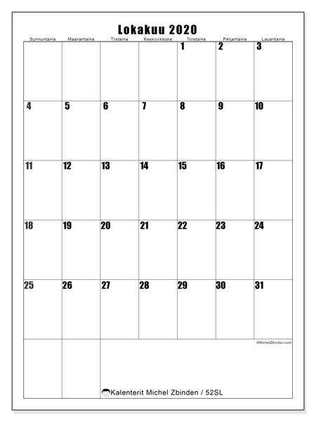 Kalenteri lokakuu 2020, 52SL. Vapaa tulostettava kalenteri.