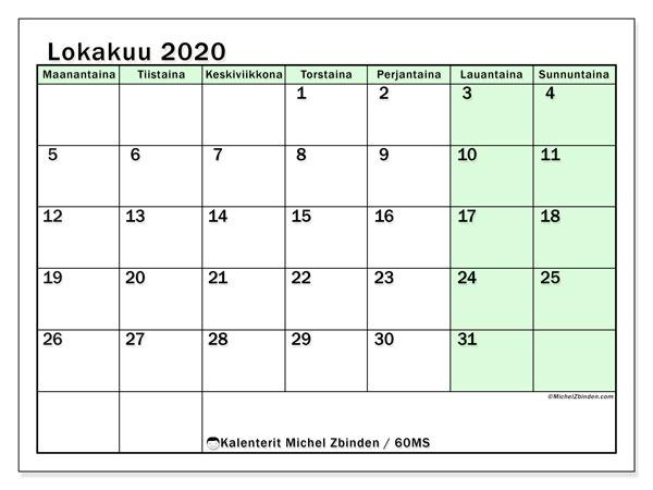Kalenteri lokakuu 2020, 60MS. Vapaa tulostettava kalenteri.