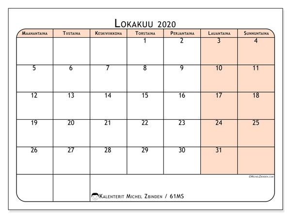 Kalenteri lokakuu 2020, 61MS. Kuukausikalenteri ilmaiseksi tulostamista varten.