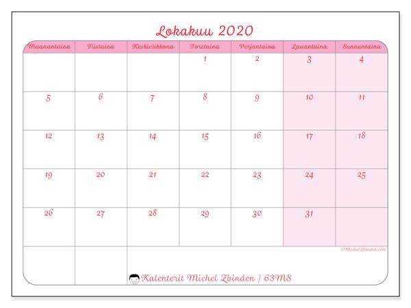 Kalenteri lokakuu 2020, 63MS. Kuukauden kalenteri tulostaa ilmaiseksi.
