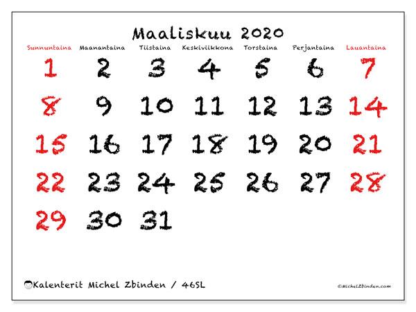 Kalenteri maaliskuu 2020, 46SL. Kuukauden kalenteri tulostaa ilmaiseksi.