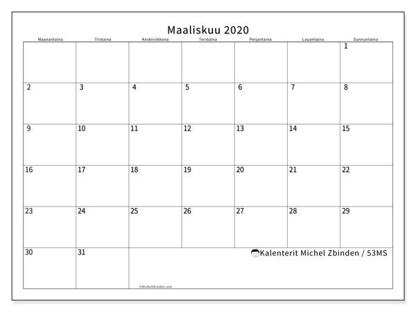 Kalenteri maaliskuu 2020, 53MS. Ilmainen järjestäjä tulostettava.