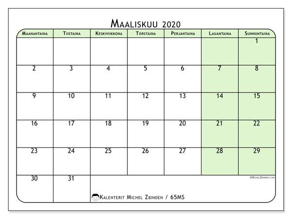 Kalenteri maaliskuu 2020, 65MS. Kuukausikalenteri ilmaiseksi tulostamista varten.