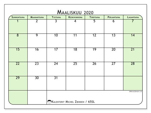Kalenteri maaliskuu 2020, 65SL. Vapaa tulostettava kalenteri.