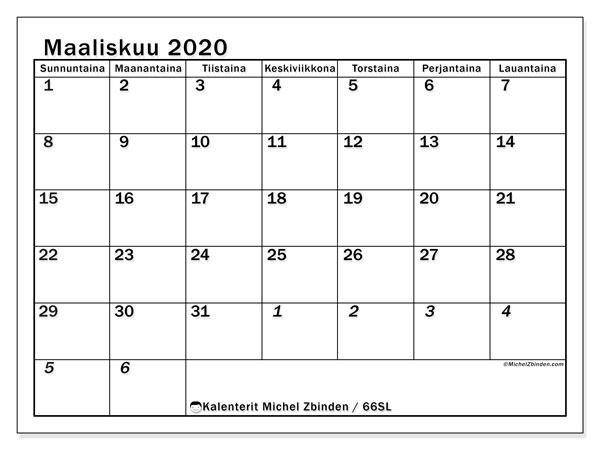 Kalenteri maaliskuu 2020, 66SL. Ilmainen tulostettava kalenteri.
