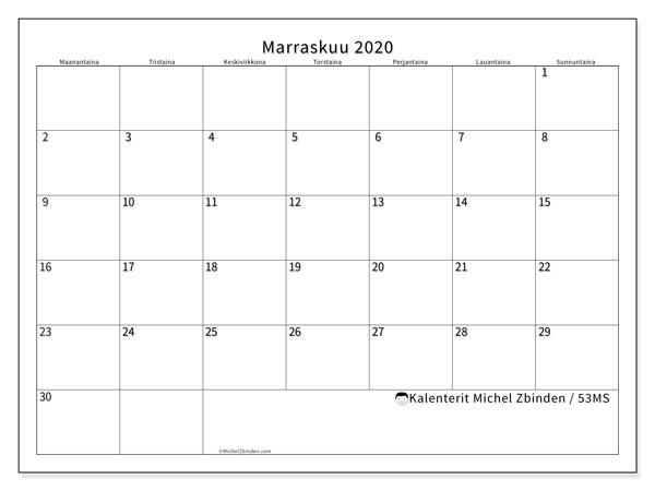 Kalenteri marraskuu 2020, 53MS. Ilmainen tulostettava kalenteri.