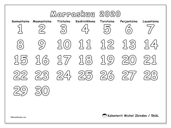 Kalenteri marraskuu 2020, 56SL. Ilmainen järjestäjä tulostettava.