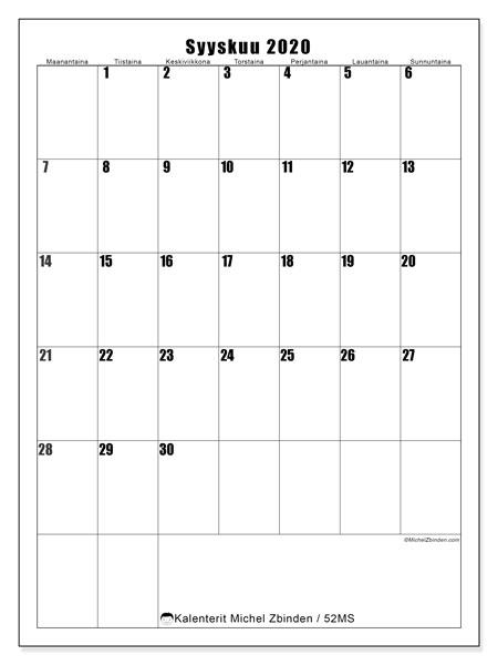 Kalenteri syyskuu 2020, 52MS. Kuukauden kalenteri tulostaa ilmaiseksi.