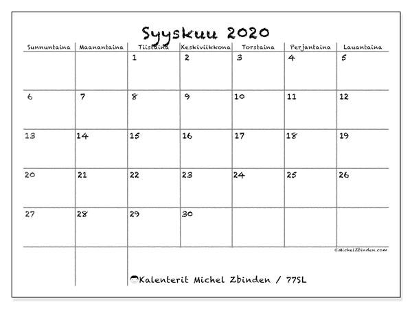Kalenteri Syyskuu 2021