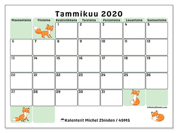 Kalenteri tammikuu 2020, 49MS. Kuukauden kalenteri tulostaa ilmaiseksi.