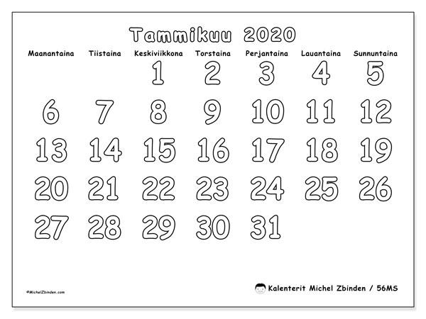 Kalenteri tammikuu 2020, 56MS. Vapaa tulostettava kalenteri.