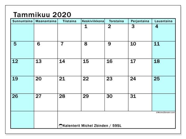 Kalenteri tammikuu 2020, 59SL. Ilmainen kalenteri tulostettavaksi.