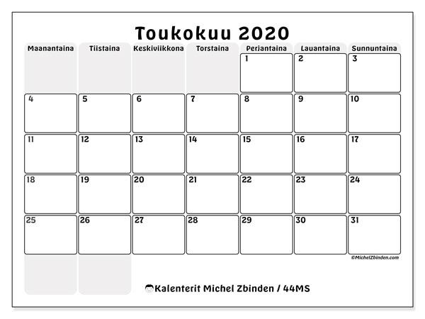 Kalenteri toukokuu 2020, 44MS. Vapaa tulostettava kalenteri.
