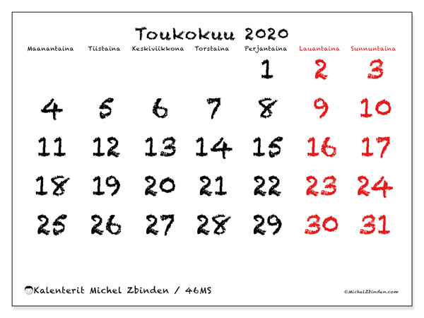 Kalenteri toukokuu 2020, 46MS. Vapaa tulostettava kalenteri.