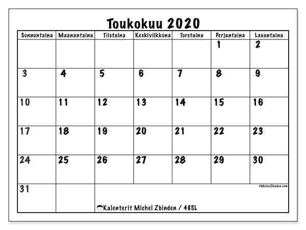 Kalenteri toukokuu 2020, 48SL. Ilmainen tulostettava planner.