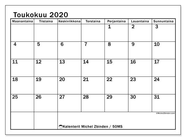 Kalenteri toukokuu 2020, 50MS. Kuukausikalenteri ilmaiseksi tulostamista varten.