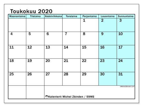 Kalenteri toukokuu 2020, 59MS. Kuukauden kalenteri tulostaa ilmaiseksi.