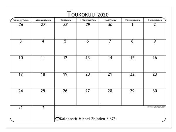 Kalenteri toukokuu 2020, 67SL. Kuukausikalenteri ilmaiseksi tulostamista varten.