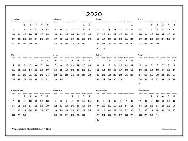 Calendrier 2020 (32LD)