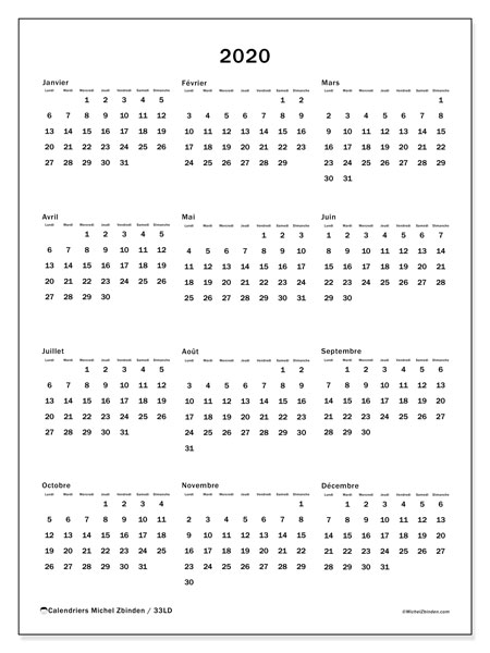 Calendriers annuels 2020 (LD).  33LD.