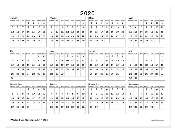 Calendriers annuels 2020 (DS).  34DS.
