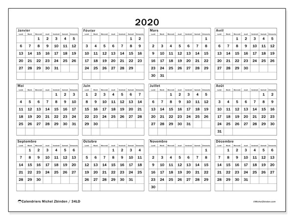 Calendriers annuels 2020 (LD).  34LD.