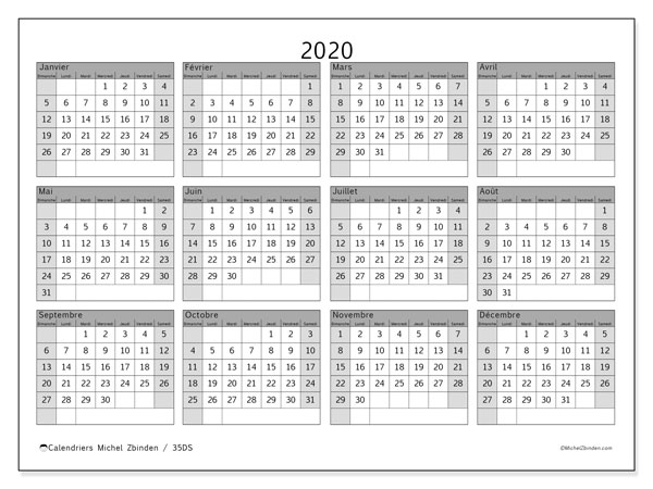 Calendriers annuels 2020 (DS).  35DS.