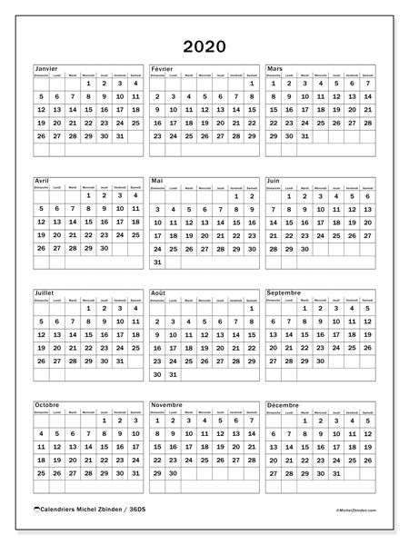 Calendriers annuels 2020 (DS).  36DS.