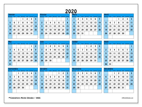 Calendriers annuels 2020 (DS).  39DS.