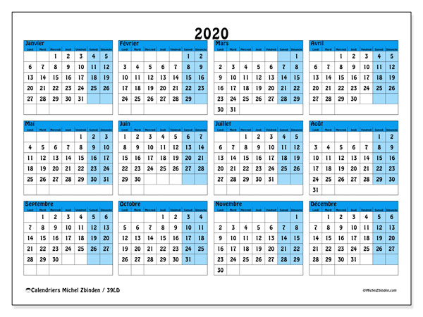 Calendriers annuels 2020 (LD).  39LD.