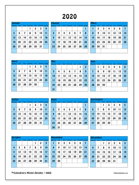 Calendriers annuels 2020 (DS).  40DS.