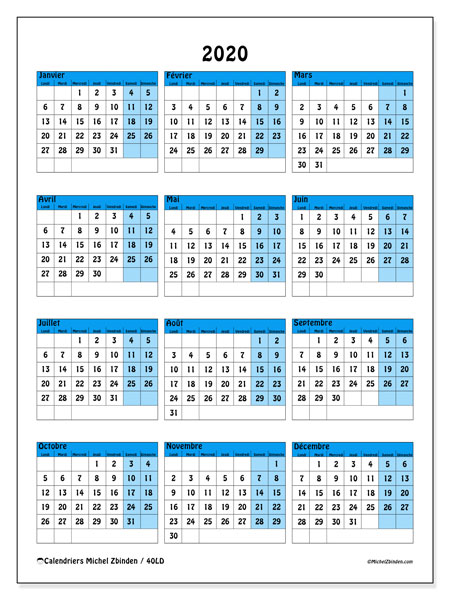 Calendrier 2020 (40LD)