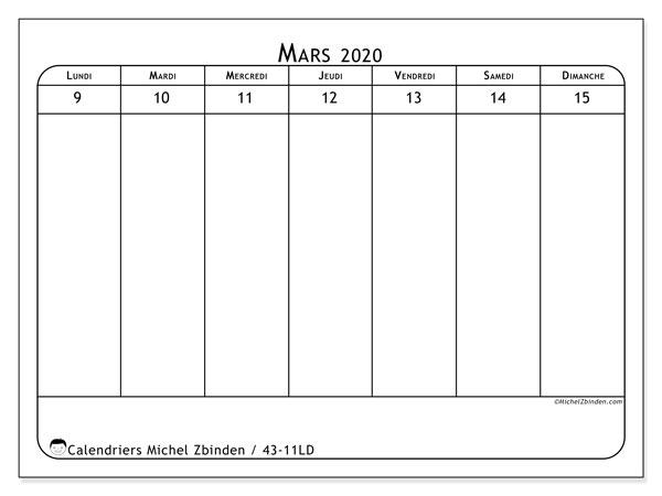 Calendrier 2020, 43-11LD. Semainier à imprimer gratuit.