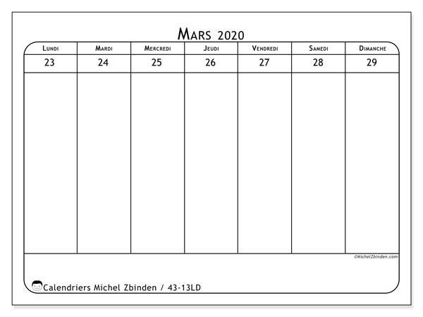 Calendrier 2020, 43-13LD. Calendrier pour la semaine à imprimer gratuit.