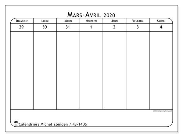 Calendrier 2020, 43-14DS. Calendrier à imprimer gratuit.