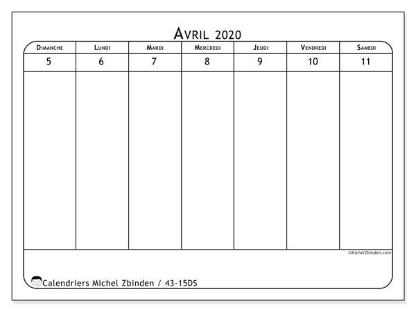 Calendrier 2020, 43-15DS. Organisateur à imprimer gratuit.