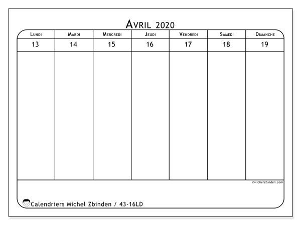 Calendrier 2020, 43-16LD. Semainier à imprimer gratuit.
