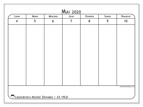 Calendrier 2020, 43-19LD. Calendrier gratuit à imprimer.