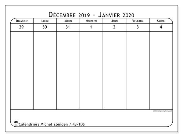 Calendrier 2020, 43-1DS. Calendrier hebdomadaire à imprimer gratuit.