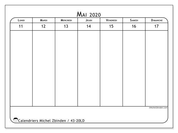 Calendrier 2020, 43-20LD. Calendrier hebdomadaire à imprimer gratuit.