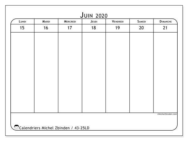 Calendrier 2020, 43-25LD. Calendrier hebdomadaire à imprimer gratuit.