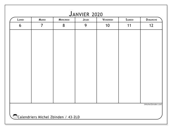 Calendrier 2020, 43-2LD. Calendrier à imprimer gratuit.