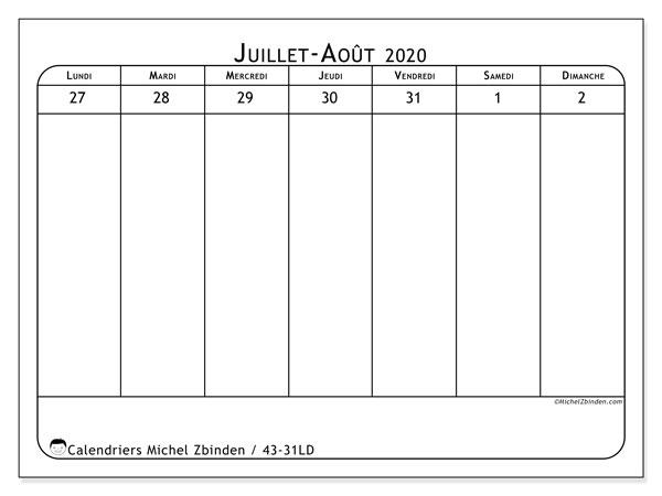Calendrier 2020, 43-31LD. Calendrier gratuit à imprimer.