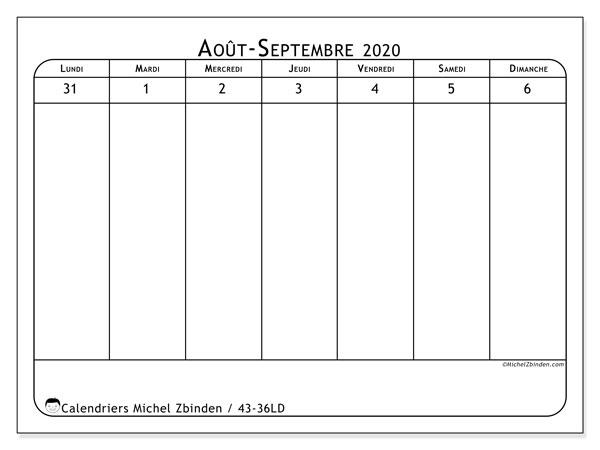 Calendrier 2020, 43-36LD. Calendrier pour la semaine à imprimer gratuit.