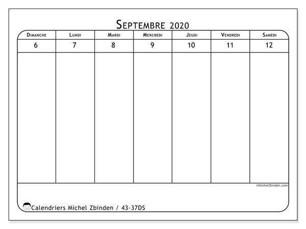 Calendrier 2020, 43-37DS. Calendrier à imprimer gratuit.
