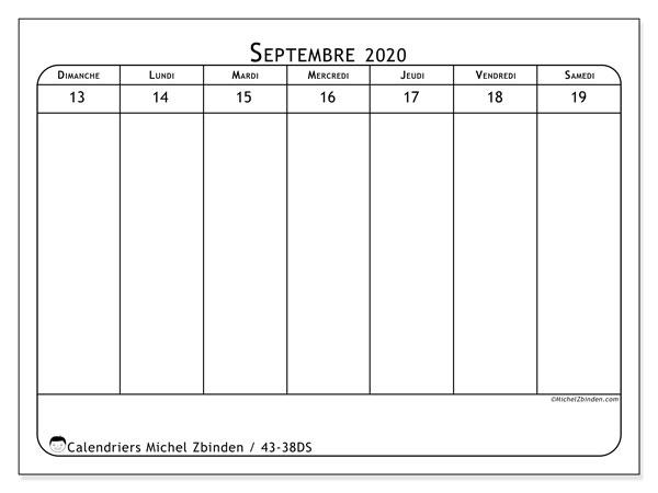 Calendrier 2020, 43-38DS. Planificateur à imprimer gratuit.