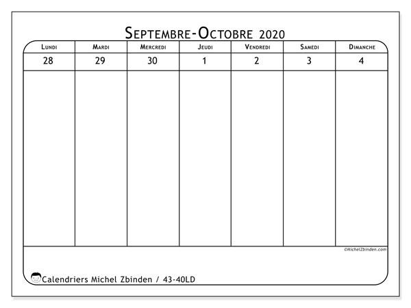 Calendrier 2020, 43-40LD. Calendrier pour la semaine à imprimer gratuit.